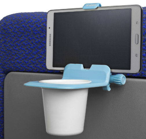 The Airhook Travel Caddy: Seatback mount for electronic devices (image via Airhook)