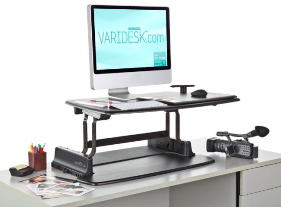 The Varidesk® adjusts to your standing or sitting position