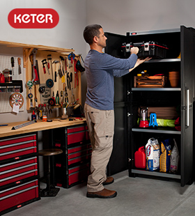 Keter storage units for hardward you might just store in a garage: image via keter.com