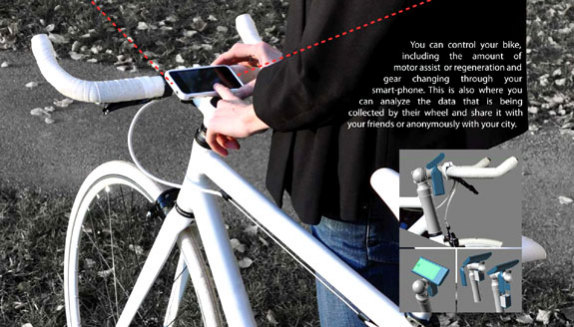 The Copenhagen Wheel, MIT SENSEable City Lab, control through your smart phone: image via James Dyson Awards