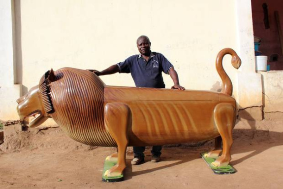 Fantasy Coffin Artist Paa Joe and a Lion Coffin (You Tube Image)